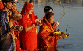 Nepalese Hindus celebrate the conclusion of the Chhat festival. Most Hindus believe in reincarnation.
