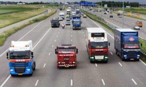 Truckers in the Netherlands protest high fuel prices by generating traffic congestion in June 2008. See more truck pictures.