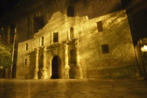 A nighttime exposure of the Alamo in San Antonio, Texas. See more pictures of forts.