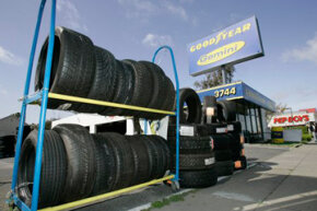 Image Gallery: Car Safety Tires are displayed outside of a shop in San Jose, Calif. See pictures of car safety.