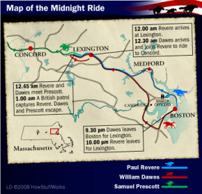 The routes of Paul Revere, William Dawes and Samuel Prescott on the night of the midnight ride.
