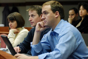 A group of Babson College MBA students attend a marketing class in 2003. Marketing is one of many required classes, but it's the electives that may determine your future salary.