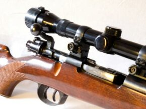 A scope on a Kettler Thirty-Aught-Six bolt-action rifle.