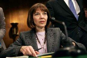 New York Times reporter Judith Miller testifes before the Senate Judiciary Committee on reporters' privilege legislation in Washington, 2005.