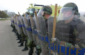 Typical crowd-control protective gear