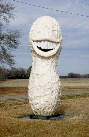 The Jimmy Carter Peanut Sculpture in Plains, Georgia, commemorates the former president's peanut-farming days.