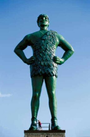 The Jolly Green Statue in Blue Earth, Minnesota, has stood tall at the Green Giant headquarters since 1979.