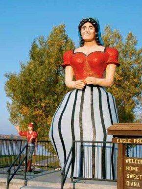 Paul Bunyan's Girlfriend statue resides about 50 miles southeast of Bemidji, Minnesota, in a resort town called Hackensack.