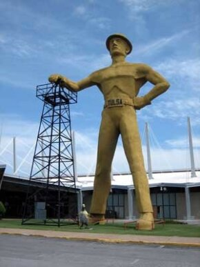 The Golden Driller Statue in Tulsa, Oklahoma, weighs in at 43,500 pounds.