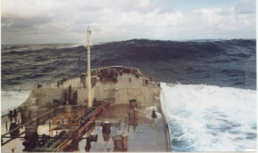 A 60-foot rogue wave moves away after hitting a tanker off Charleston, S.C.