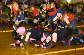 Roller derby is roller skating on steroids.
