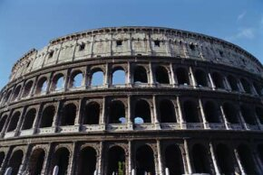 The Flavian Amphitheatre or Colosseum in Rome, built in 70-80 AD, October 1998.
