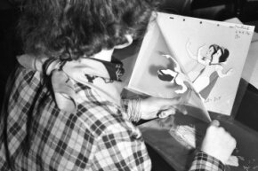 "A Disney animator working with on a character motion sequence for ""Snow White and the Seven Dwarfs"" circa 1936."