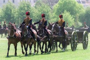 The King's Troop, royal horse artillery, at a special royal review in Regent's Park, London, England