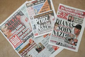 "German tabloids, including the ""Berliner Kurier,"" ""Bild"" and ""B.Z.,"" feature the story of British Prince Harry attending a party dressed in a Nazi uniform."