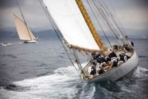 The giant 43-meter schooner Eleonora tacks upwind.