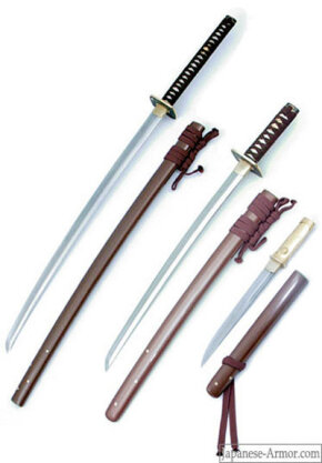 Bushido sword series, left to right: Matching katana, wakizashi and tanto