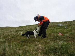 A handler rewards his dog for a good find.