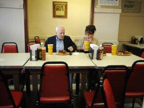 2008 GOP running mates Sen. John McCain and Gov. Sarah Palin eat together at Arthur Bryant's Barbeque in Kansas City, Mo., in September 2008. See more pictures of Sarah Palin.