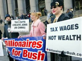 Members of Billionaires for Bush, a theatrical troup, mock the wealthy as they stand outside of the James A. Farley post office, where last-minute tax filing takes place.