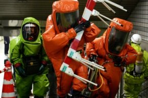 The Tokyo Fire Department and Tokyo Metropolitan Police Department conducting disaster drills in the Tokyo subway in March 2005.