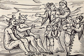 "Here we see an engraving of children initiated into satanic ritual, taken from the 1608 tome ""Compendium Maleficarum."""