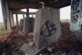West Memphis, Arkansas' local 'Stonehenge,' an abandoned cotton-gin-turned-teen-hangout tagged with vaguely satanic graffiti.