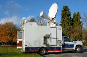 Networks use satellite communication technology to deliver news and programming.