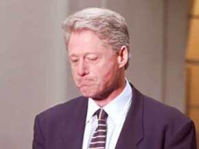President Bill Clinton considers his words during a 1996 press conference about the Whitewater Savings & Loan scandal.