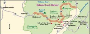 View Enlarged Image As this map indicates, the Highland Scenic Highway runs through the Monogahela National Forest of West Virginia.