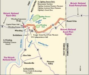 View Enlarged Image The West Virginia portion of the Historic National Road, shown on this map, will take you through a variety of significant sites related to musical, state, and national history.