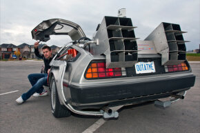"Ken Kapalowski In his replica of the DeLorean time machine from ""Back To The Future."""