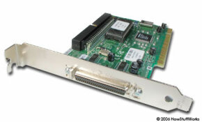 SCSI devices usually connect to a controller card like this one. See more computer hardware pictures.