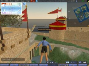 """Flying in Second Life is as easy as clicking the """"fly"""" button on your screen."""
