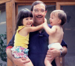 Photo courtesy Clearing Skies Press                          Author Walter Roark with his kids Meghan and Shannon