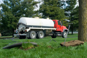 A septic pump truck cleans the scum, sludge and effluent from a septic tank. See more plumbing pictures.