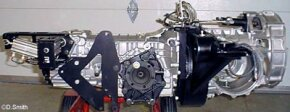 5-speed synchro box, ZF transaxle model 5DS-25-2 This gearbox has a custom-made sequential shifting mechanism that is pneumatically operated and computer controlled. See more images of transmissions.