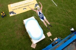 In 2012, Professor Splash made a shallow dive into a pool of milk at the Royal Cornwall Show in Wadebridge, England.