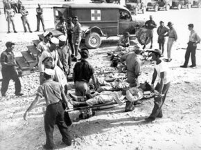 Survivors of the USS Indianapolis en route to a hospital following their rescue