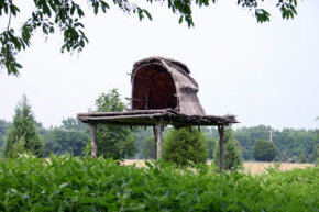 An elevated open shelter like this keeps you dry and shaded.