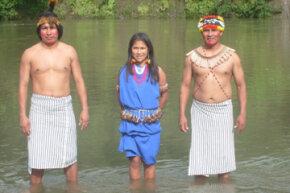 An image of modern Shuar tribespeople.