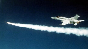 An F/A-18 Hornet strike fighter fires an AIM-9 Sidewinder missile. See more Sidewinder missile pictures.