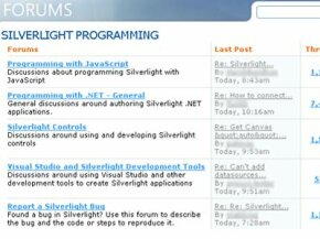 Microsoft hosts a special forum Web site where Silverlight developers can ask questions and trade tips..