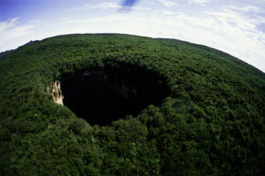 Aerial view of a Sarisarinama sinkhole