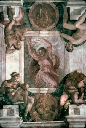 This detail from the Sistine Chapel ceiling, Michelangelo's Separation of Light and Darkness (ceiling 130 feet 6 inches x 43 feet 5 inches), is located in the Vatican.