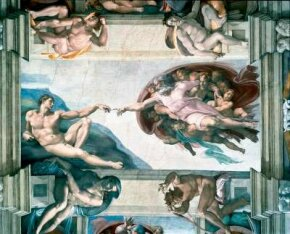 Creation of Adam beautifully depicts the unity between the body and soul. This painting (ceiling 130 feet 6 inches x 43 feet 5 inches) by Michelangelo is in the Sistine Chapel.