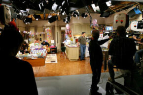 """The camera crew prepares to shoot a scene of the hit sitcom """"Friends"""" during one of their last shows in 2003."""