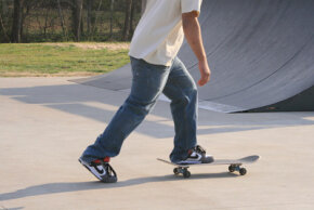 "Most people ride skateboards ""regular foot,"" with their left foot forward."
