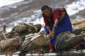 A lama burial master attends to duties.