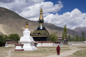 A Buddhist stupa on the grounds of the Samye Monastery in Tibet